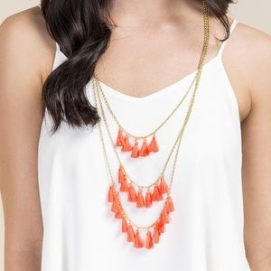 Neon Pink Triple Layer Necklace